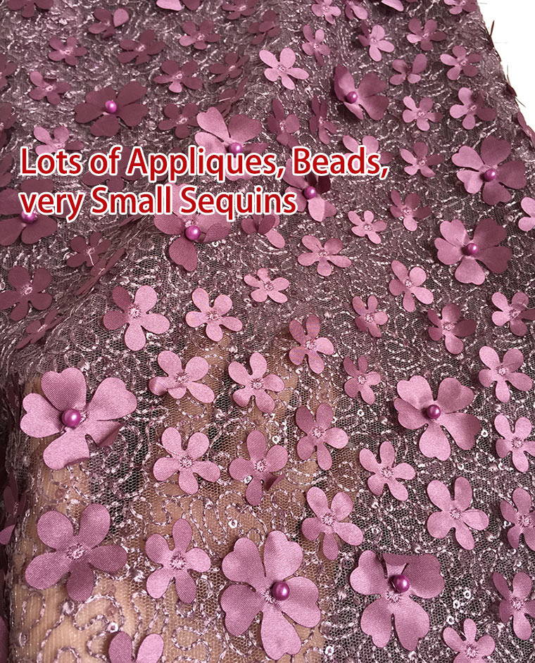 5 yards Rose pink Beaded French Lace cord embroidery African tulle lace buba celebration fabric with small sequins Appliques