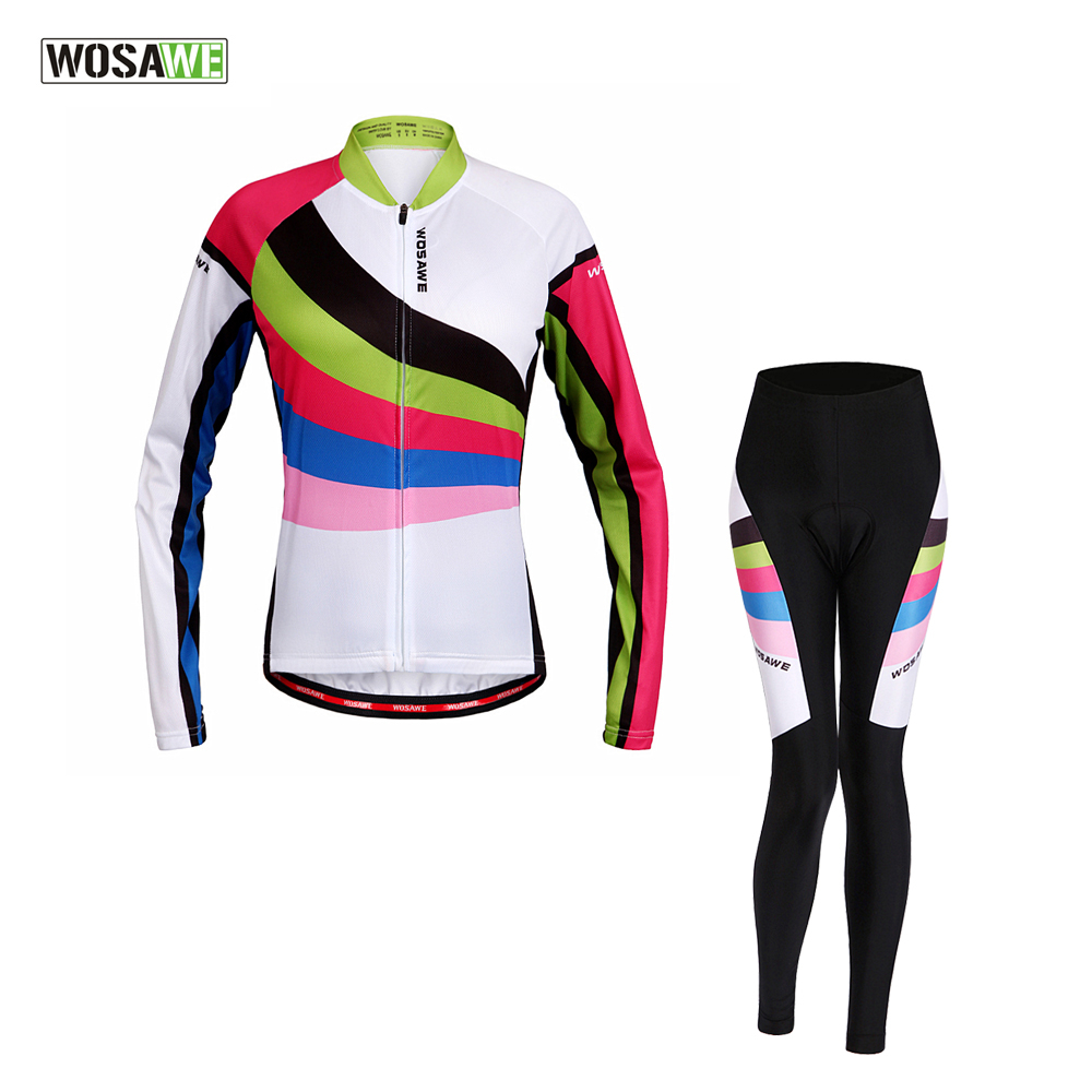 WOSAWE Spring & Autumn Women Long Sleeve Cycling Jersey + 4D Gel Padded Tights & Pants Suit MTB Road Bike Bicycle Clothing Set