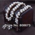 Dorado bonita perla de imitación y cristal flor aretes pulseras de la joyería mujeres Jewelry joyería nupcial conjunto