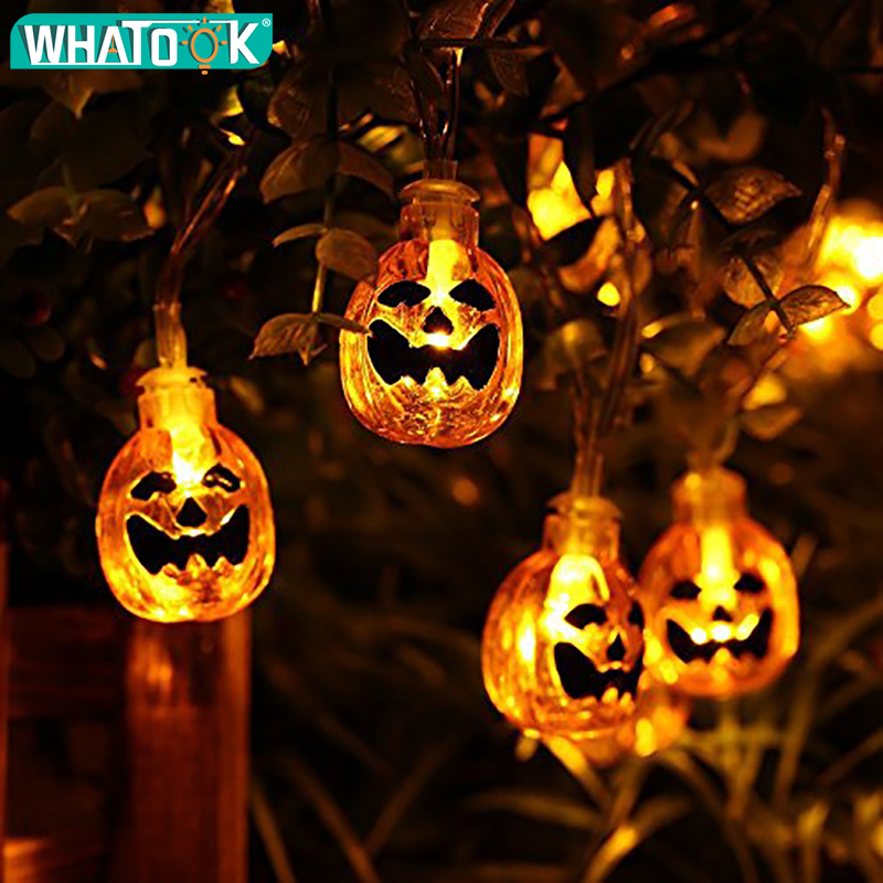 20leds 40leds Handing Halloween Pumpkin String Lights Halloween Decoration Outdoor Pumpkin Led Light Ghost For DIY Home Outdoor halloween creativity 3d stereotophora pumpkin window decoration wall stickers