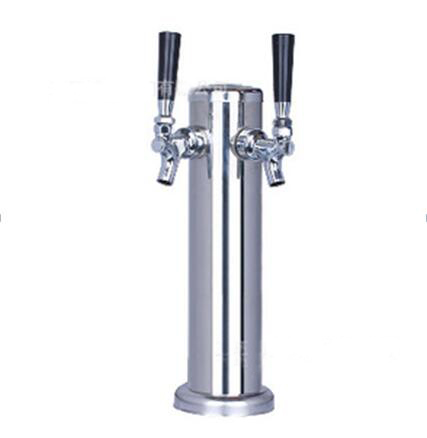Stainless Steel not adjustable beer faucet beer tower set, 2 holes beer column set kegerator tap homebrew for bar/Restaurant american style stainless steel slow pressure beer column tap coffee faucet beer barrel connecting faucet kegerator tap homebrew