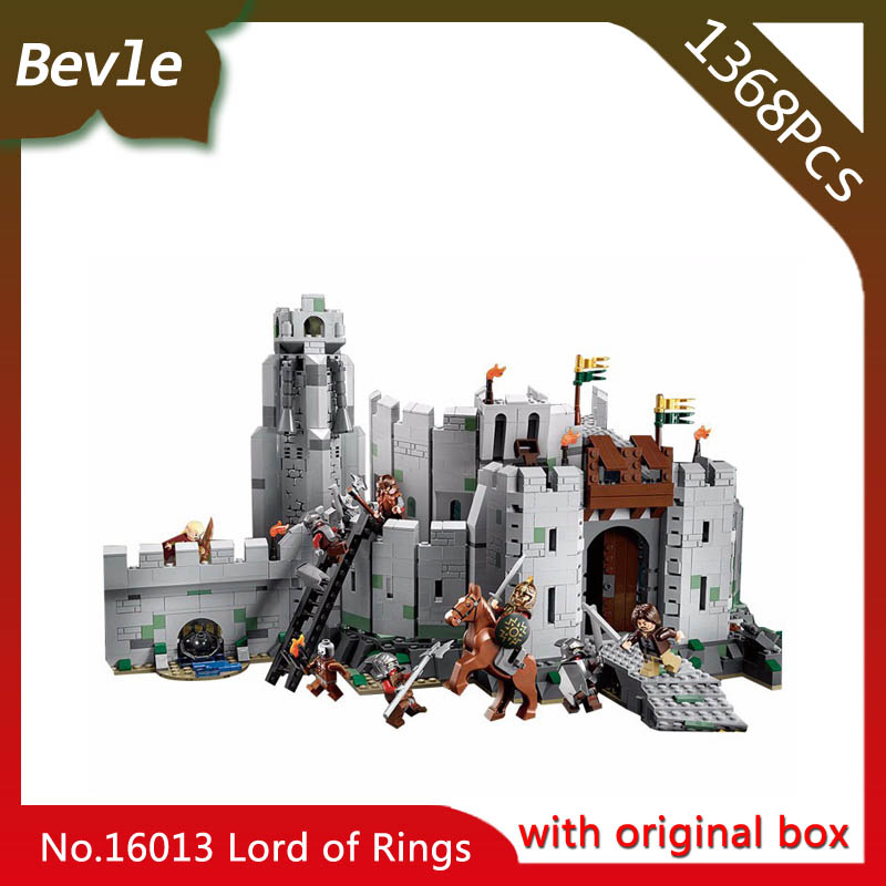 Bevle Store LEPIN 16013 1368pcs Movie Series Lord Of The Rings Helm's Deepl Building Blocks Children Toys 9474 With Original Box lepin 16018 756pcs genuine the lord of rings series the ghost pirate ship set building block brick toys compatible legoed 79008