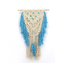 Lake blue fringed woven tapestry home wall hanging meter box cover home decor pendant tapestry boheme wedding decor macrame hanging mountains boat lake wall tapestry