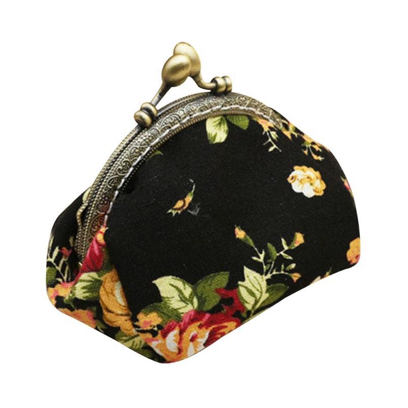 Women Canvas Bag Retro Vintag Flower Small Hasp Purse For Girls Ladies Coin Purse Wallet Female Mini Canvas Bags Monedero #815 girls coin purse storage bag canvas