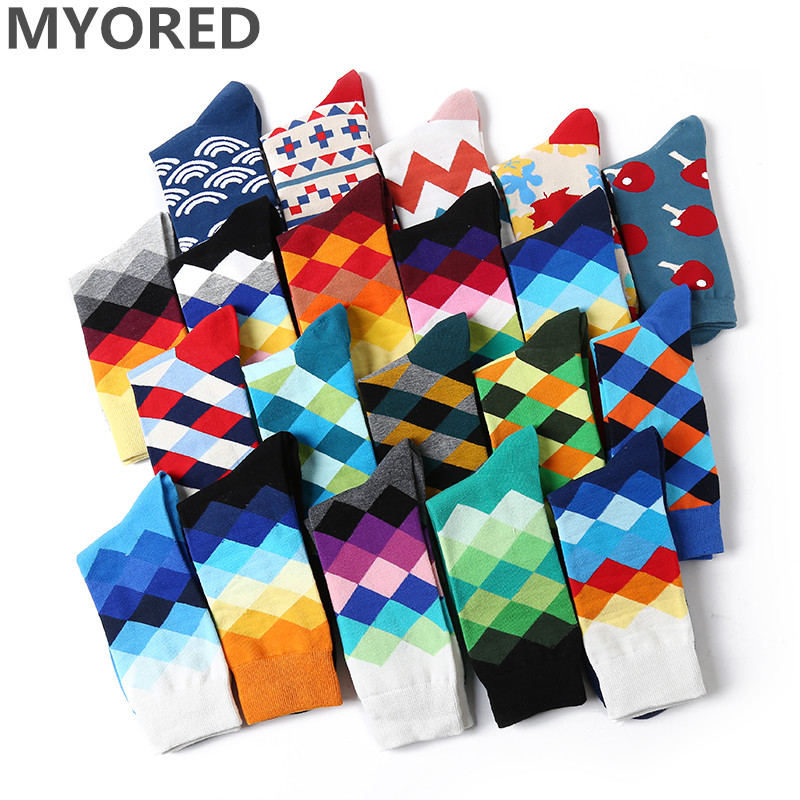 MYORED 5 Pair/lot Colorful Funny Socks Mens Cotton Novelty Painting Popular Harajuku Long Socks Knitting Crew Socks Wedding Gift