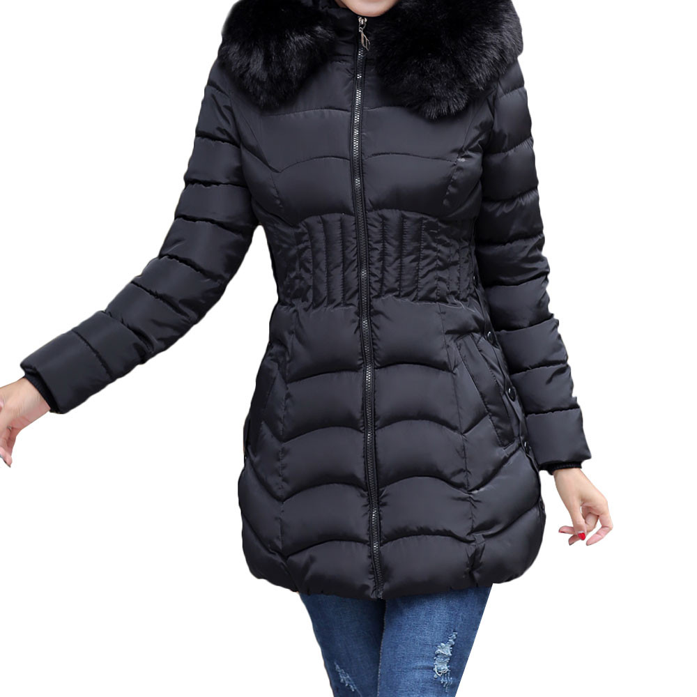 Lanxirui   Parkas   Solid Fur Casual Zipper Coat High Quality Hooded Winter Women Cotton Long Thickening Slim Coat Nov29