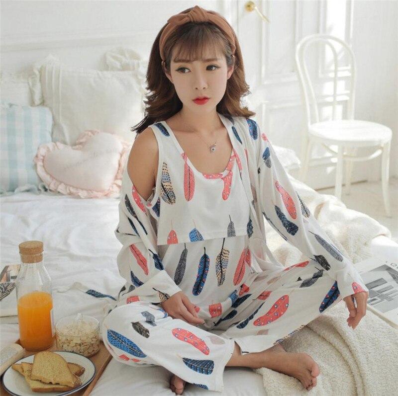 Cotton 3 Pieces Maternity Clothes Maternity Sleepwear Breastfeeding Sleepwear Nursing Pajamas Pregnant Women Pajamas Pajama Set