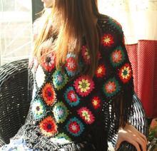 DIY black flower tassels 55 55cm scafts cushion carpet Hand hooked fashion crochet blanket cushion felt