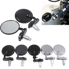 "Black 7/8"" 22MM Universal Motorcycle Mirrors Handle Bar End Rear View Mirrors For Harley Honda Ducati Piaggio Apulia Side Mirror"
