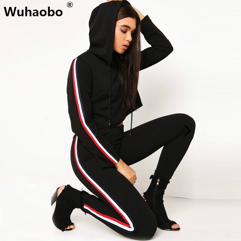 Wuhaobo Women 2 Pieces Bodycon Jumpsuit Hoodies Sweatshirt suit set Female Casual Bodysuit Playsuit Club Tracksuits Set Trousers