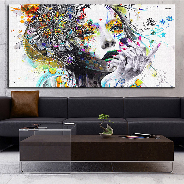 Aliexpress Com Buy Hdartisan Wall Canvas Art Pictures: DP ARTISAN Modern Wall Art Girl With Flowers Oil Painting