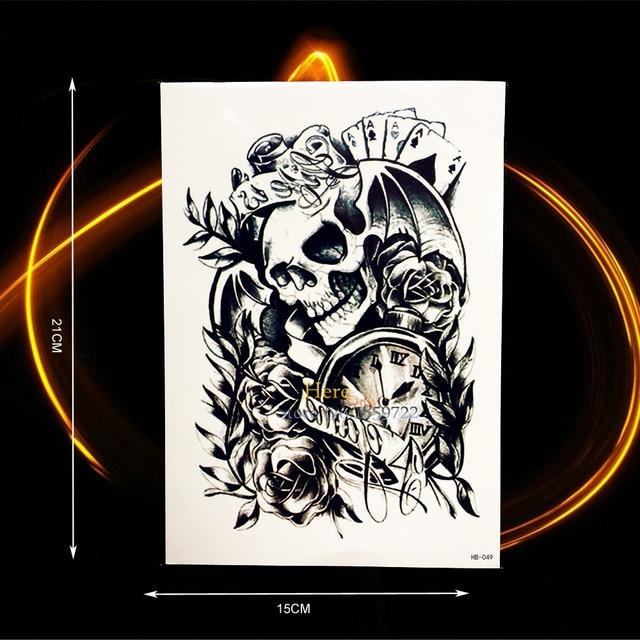 3c8f59eb2 Devil Evil Damon Temporary Tattoo Stickers Skull Head Rodes Poker Designs  Fake Waterproof Tattoo Men Body