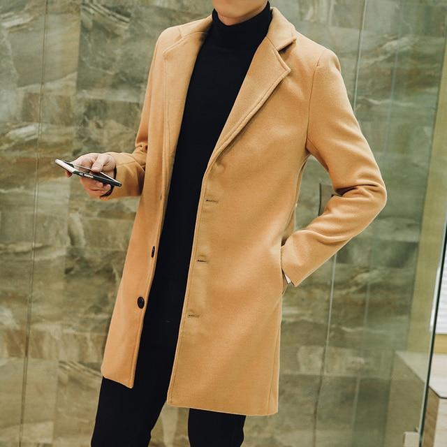 2018 с лацканами Для Мужчин's Шерстяные пальто для женщин Для мужчин S одежда с длинным рукавом Длинные пальто большой Размеры размеры S, M, L 5xl синего, красного, черного цвета хаки модные Повседневное Для мужчин Куртки