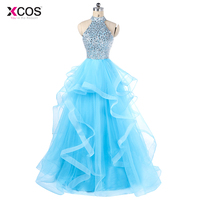 Sparkly Crystal Beaded Sequin Top Prom Dresses Long 2018 Light Blue Tulle Tiered Puffy Halter Backless Sexy Prom Gown