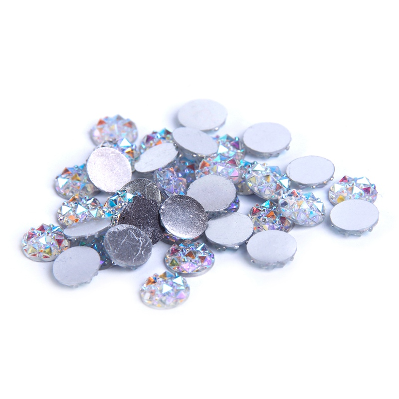 Resin beads 10mm 12mm 14mm crystal ab round flatback glue for Rhinestone jewels for crafts
