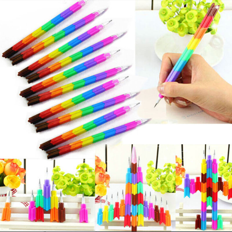 4Pcs/lot Stacker Swap Pencils Building Block Non-Sharpening Pencil Bullet pencil For Kids Gifts 14cm Colorful Wooden pens