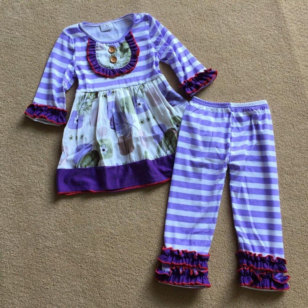2018 nuovo Vestito Dalla Ragazza di Autunno strisce Viola Autunno Abbigliamento In Cotone Pantaloni & Girl Cute Dress set di Nove minuti dei pantaloni