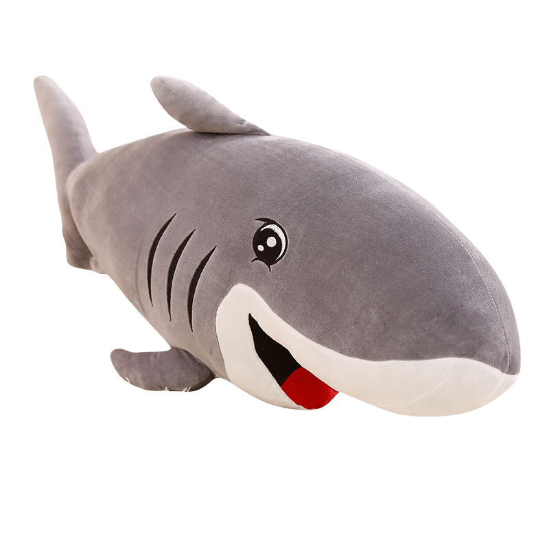 50-120cm Cartoon Big Size Funny Soft Ocean World Smile Shark Plush Toy Pillow Appease Cushion Xmas Birthday Gift For Children image
