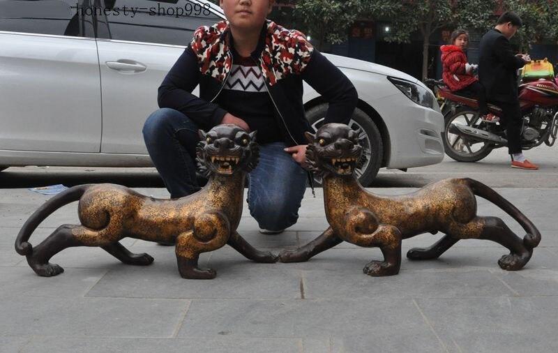 Рождественский огромный Редкий китайский Бронзовый свинка лесной царь успех зодиака Тигр зверь Статуя Пара