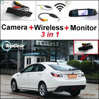 3 in1 Special Camera + Wireless Receiver + Mirror Monitor Easy DIY Backup Parking System For Morris Garages MG6 MG 6