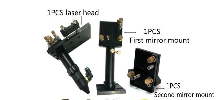 CO2 laser head set CO2 lase cutting head+reflective Si mirror 25mm+focus focal lens 20mm for co2 laser cutting mount parts focus lens good for most co2 laser cutting system for most engraving and cutting applications 2 inch focal length