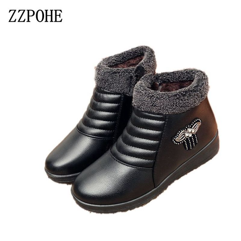 ZZPOHE Winter New Women Snow Boots Fashion warm plush ankle leather flats boots Slip On Casual Comfortable Mother cotton shoes new winter autumn brand luxury women shoes flats suede leather warm snow casual zapatillas mujer plush timber shoes for lady