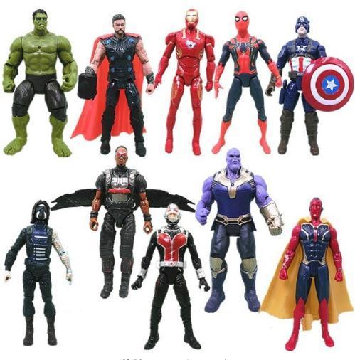 Vingadores: infinito Guerra Homem De Ferro Hulk Spiderman Capitão América Thor Loki AntMan Visão Thanos Figura de Ação PVC Figure Set Brinquedos