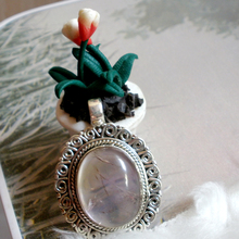 Pure natural crystal powder 925 Sterling Silver India hand inlaid natural crystal jewelry pendant pendant lady sweater