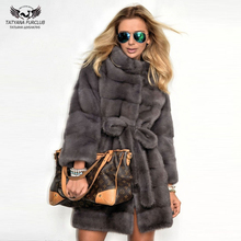 Tatyana Furclub Whole Skin Natural Mink Fur Coat Luxurious Real Jacket With Belt Womem Designer Outerwear Tops High Street