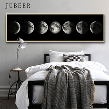 Nordic Style Poster Eclipse of The Moon Canvas Painting Black and White Posters And Prints Wall Art Pictures Bedroom Decoration