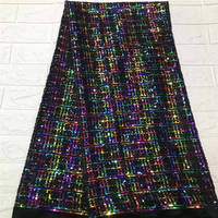 2019 New design High quality emerald green Velvet African tulle lace French net lace fabric with Sequins for party dress 5yards