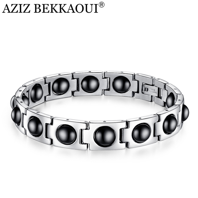 AZIZ BEKKAOUI Men's Health Bracelets & Bangles Magnetic H Power Stainless Steel Personalized Named ID Bracelet Hologram Bracelet