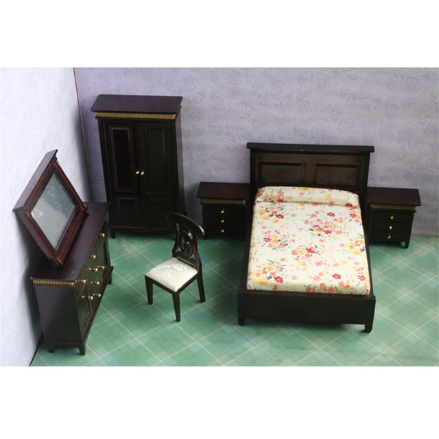 Doub K 1:12 Dollhouse Miniature furniture toy dolls kawaii wooden beauty bedroom bed chair set pretend play toys for children