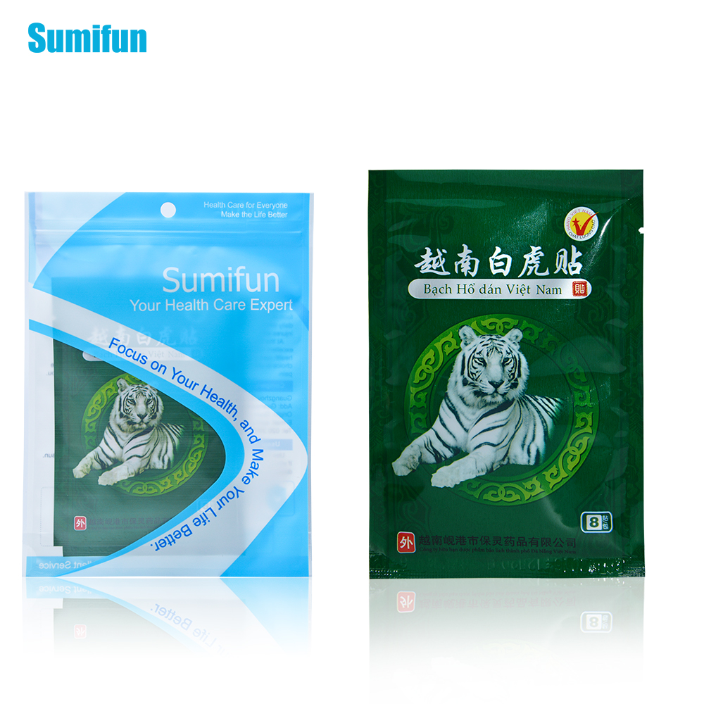 8 Pcs  Sumifun White Tiger Balm Medicated plasters Massage Tens Pain Patch Antistress Medical Plaster Ointment For Joints  C053 2boxes 12 magnetic patch for hyperosteogeny medical massage patch treat osteoarthritis bone hyperplasia spondylosis herb plaster