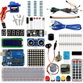 Стартовый набор для Arduino базовый Обучающий набор Uno R3 Комплект обновленный шаговый двигатель LCD1602 SG90 сервопривод светодиодный перемычка для...