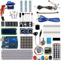 스타터 키트 아두 기본 학습 Uno R3 키트 업그레이드 스테퍼 모터 LCD1602 SG90 서보 LED 점퍼