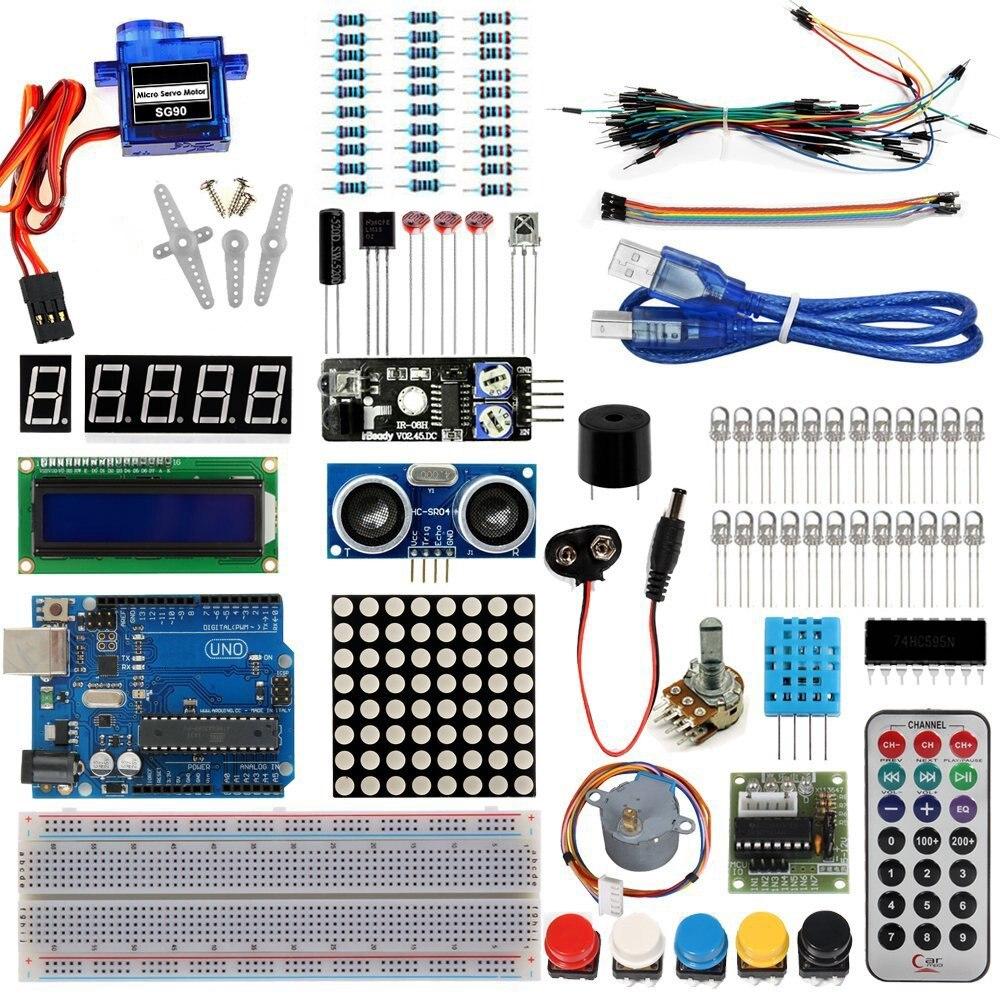 Starter Kit Pour Arduino De Base D'apprentissage Suite Uno R3 Kit amélioré Pas À Pas Moteur LCD1602 SG90 Servo LED Cavalier Pour Arduino