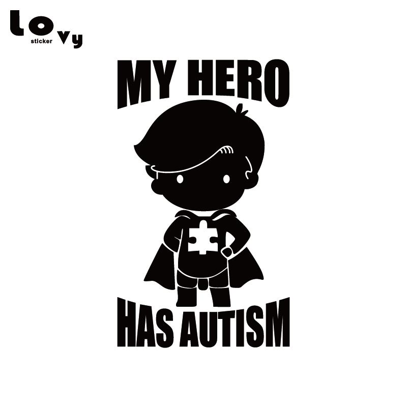 My Hero Has Autism Vinyl Car Sticker Funny Cartoon