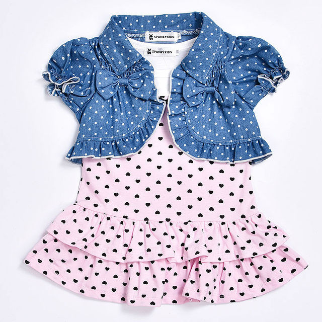 b18a9465c New 2019 summer baby girl dress Cute sleeveless dress with small heart+  short cardigan 2/pcs Newborn baby girl clothes set