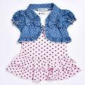 Nuevo 2017 summer baby girl dress lindo sin mangas de dress con pequeño corazón + chaqueta corta 2/pcs bebé recién nacido ropa de la muchacha fijaron