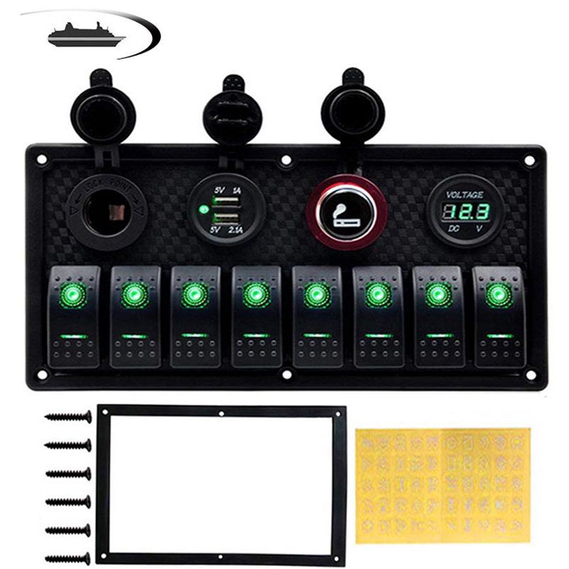 6 8 Gang Rocker Switch Panel for Car Boat RV Marine Truck Fuse Panels Waterproof Digital Voltmeter Dual USB Charger Ports DC 12V