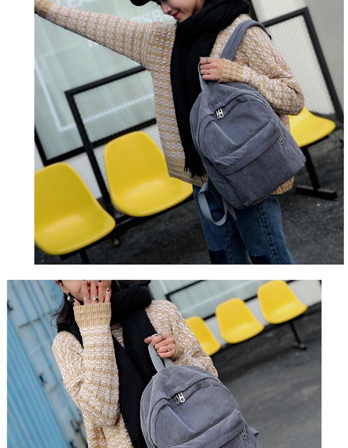 HTB1bIpLM4TpK1RjSZFMq6zG VXag 2019 New Corduroy Women Backpack Pure Color Women Travel Bag Fashion Double Backpack Female Mochila Bagpack Pack Design