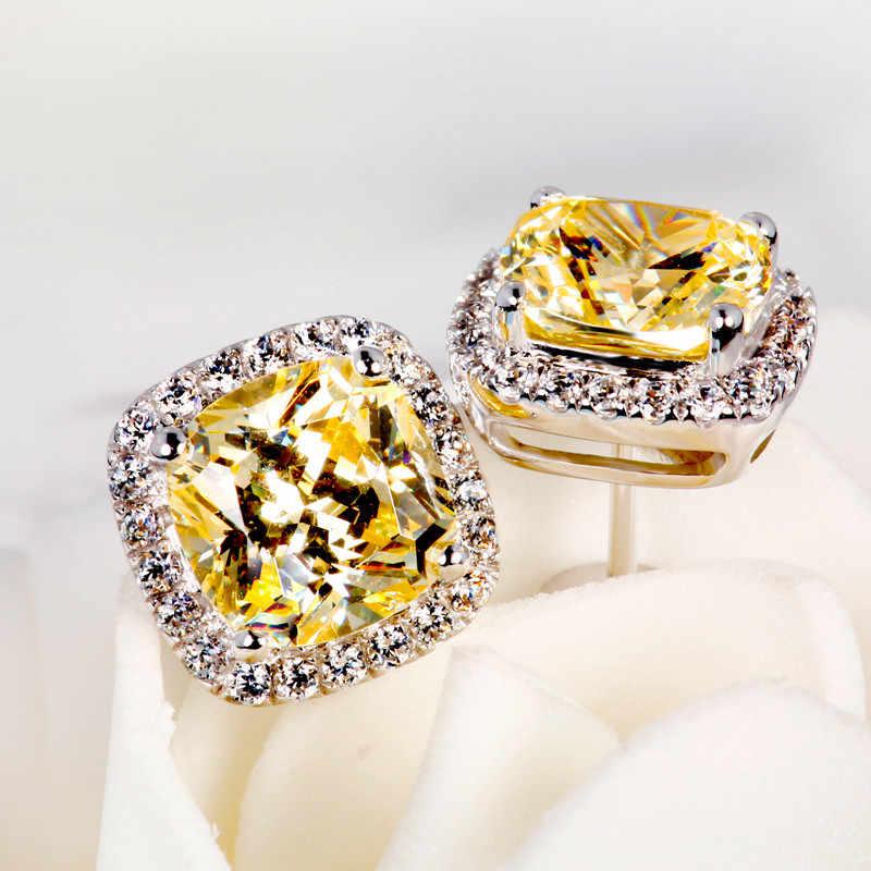 Luxo feminino cristal zircon pedra brincos moda prata cor amarelo branco brincos vintage duplo parafuso prisioneiro para mulher