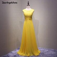 Cheap Beading Yellow Prom Dresses Yellow Lace Chiffon Long V