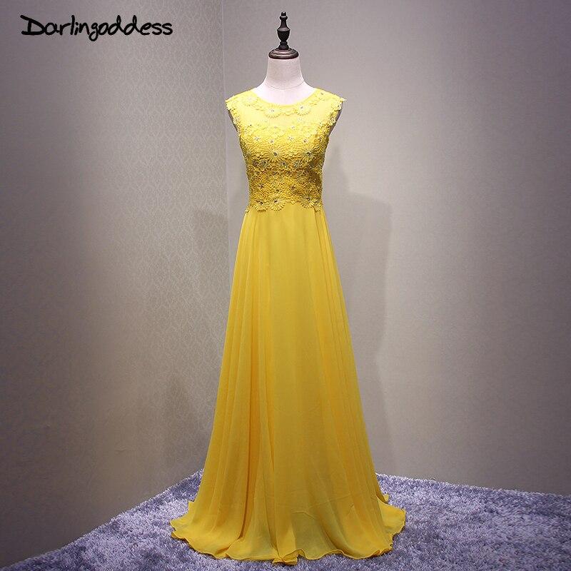 Perles bon marché jaune robes De bal jaune dentelle mousseline De soie longue robe De Festa Longo longueur De plancher formelle soirée robe De soirée 2017