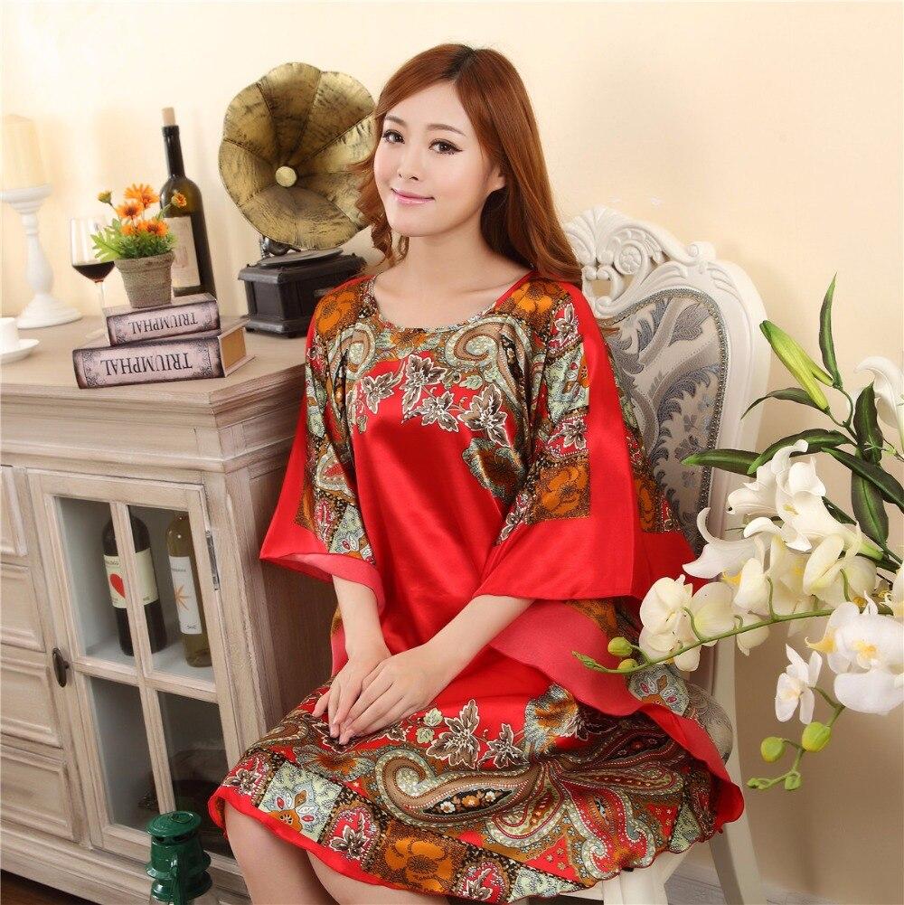 Plus Size Womens Faux Silk Robe Bath Gown Nightgown Pijama Mujer Summer Sleepshirts New Style Sleepwear Printed Zh591C