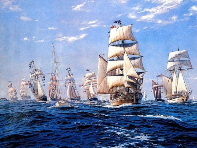 Free shipping gobelin tapestries, ships on the sea Fabric decorative picture,classical nautical piture,size 30x40cm