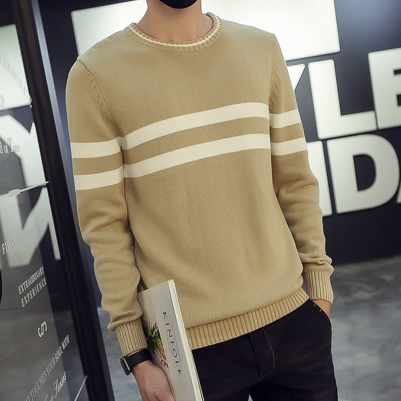 2016 High Quality Autumn Men Knitted Striped Sweater Korean Men Brand O-Neck Cashmere Mens Sweaters Casual Pullover