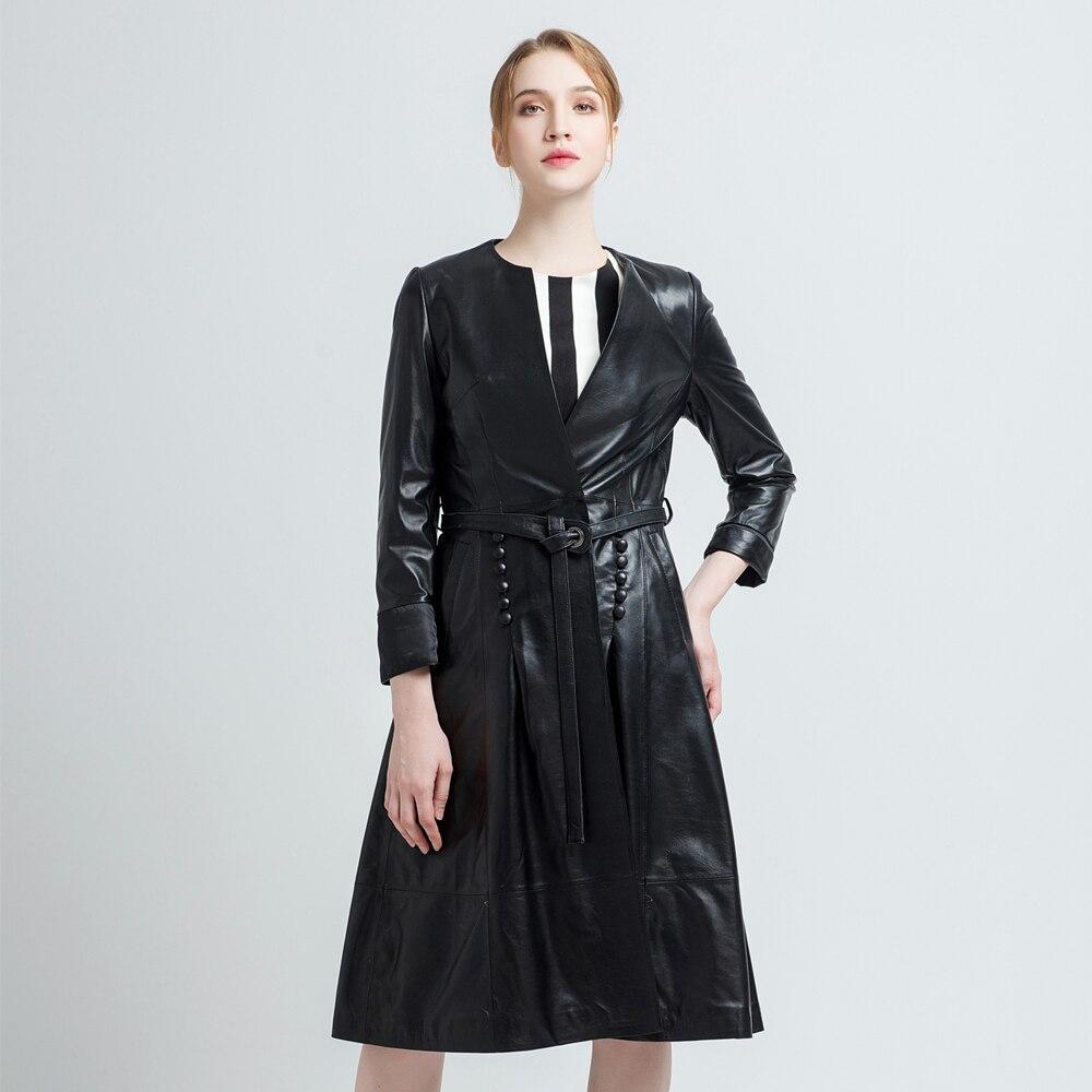 Gours جلد طبيعي معطف للنساء الربيع الأزياء الكلاسيكية طويلة الأكمام ضئيلة معطف السيدات جلدية مصدات الرياح الغنم سترة-في الجلد والجلد المدبوغ من ملابس نسائية على  مجموعة 3