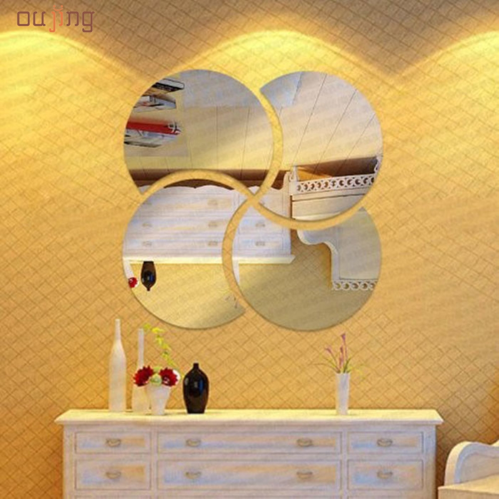 Happy home 3D Circles Mirror Puzzle Home Decor Bell Cool Mirrors Wall Stickers For Living Room Bedroom  Home Decor